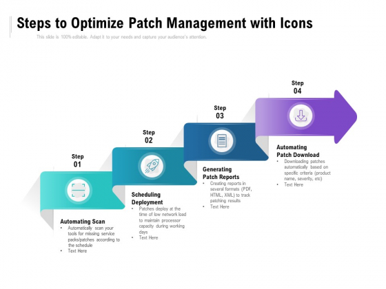 Steps To Optimize Patch Management With Icons Ppt PowerPoint Presentation Show Brochure PDF
