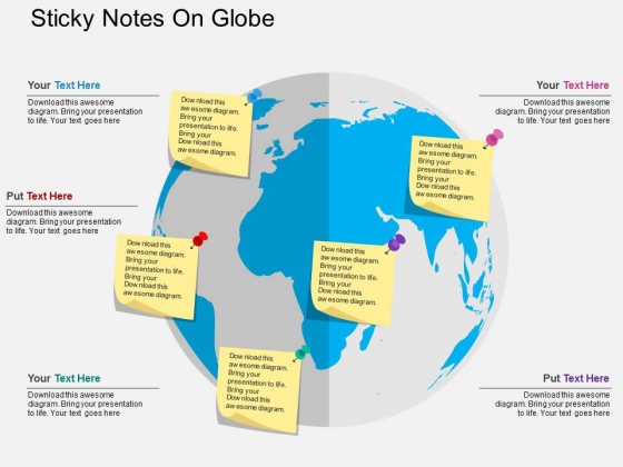 Sticky Notes On Globe Powerpoint Templates