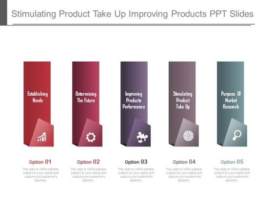 Stimulating Product Take Up Improving Products Ppt Slides