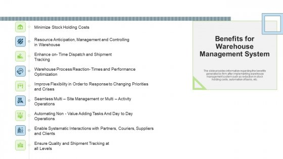 Stock Control System Benefits For Warehouse Management System Ppt Gallery PDF