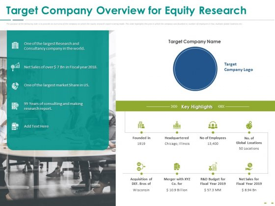 Stock Market Research Report Target Company Overview For Equity Research Ppt PowerPoint Presentation Show Graphics PDF
