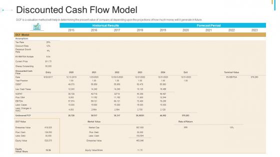 Stock Offering As An Exit Alternative Discounted Cash Flow Model Portrait PDF