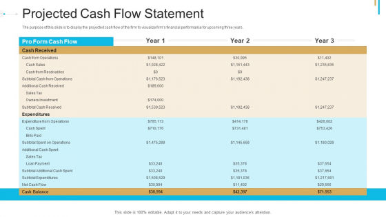 Stock Offering As An Exit Alternative Projected Cash Flow Statement Background PDF