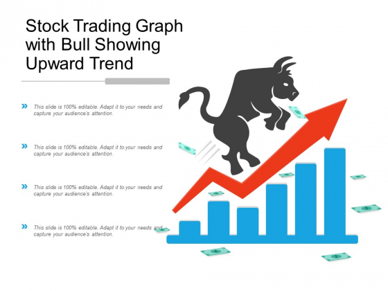 Stock Trading Graph With Bull Showing Upward Trend Ppt Powerpoint Presentation Pictures Outfit