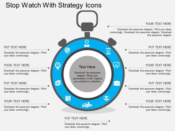 Stop Watch With Strategy Icons Powerpoint Templates