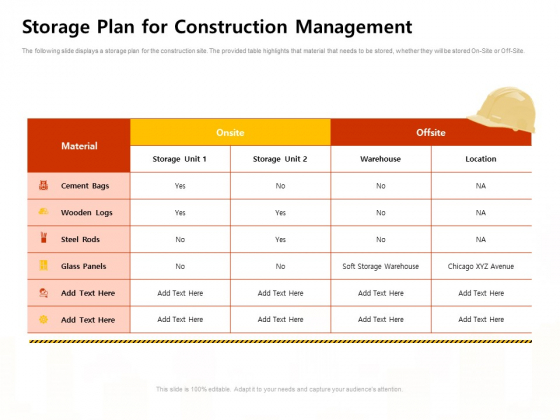 Storage Plan For Construction Management Work Ppt Summary Graphics PDF