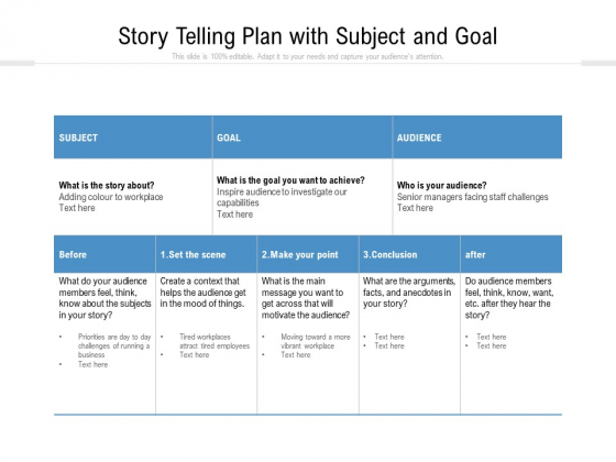 Story Telling Plan With Subject And Goal Ppt PowerPoint Presentation File Skills PDF