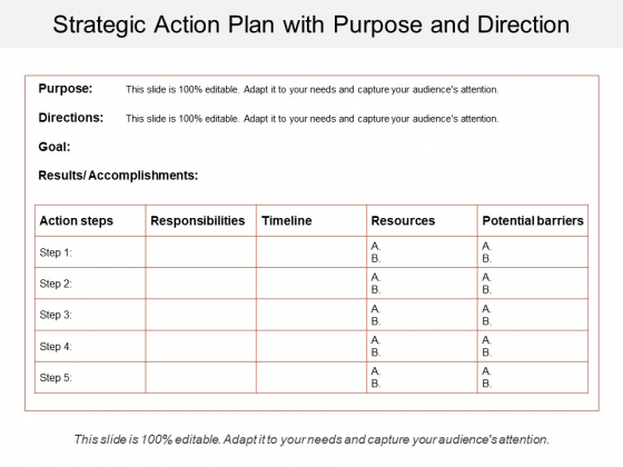 Strategic Action Plan With Purpose And Direction Ppt PowerPoint Presentation File Design Templates PDF