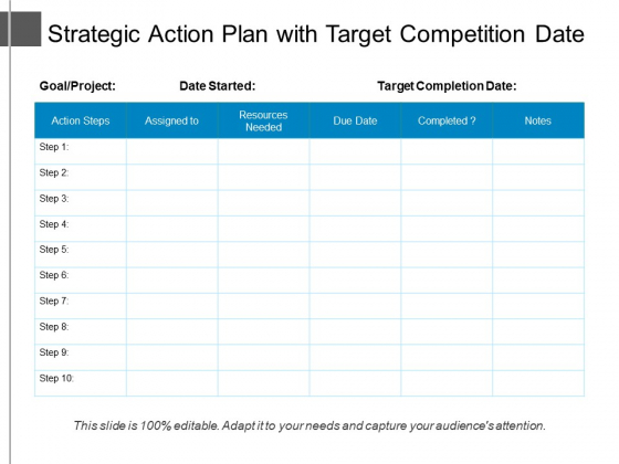 Strategic Action Plan With Target Competition Date Ppt PowerPoint Presentation File Templates PDF