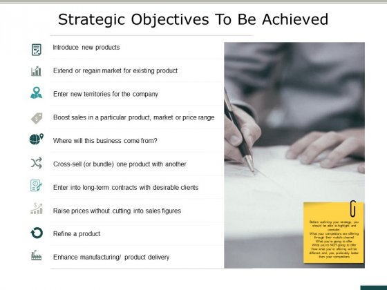 Strategic Objectives To Be Achieved Ppt PowerPoint Presentation Deck