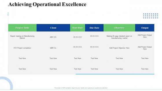 Strategic Plan For Business Expansion And Growth Achieving Operational Excellence Elements PDF
