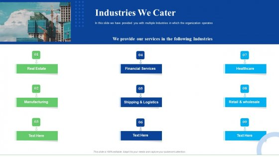 Strategic Plan For Business Expansion And Growth Industries We Cater Background PDF