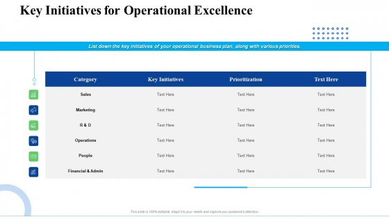 Strategic Plan For Business Expansion And Growth Key Initiatives For Operational Excellence Background PDF