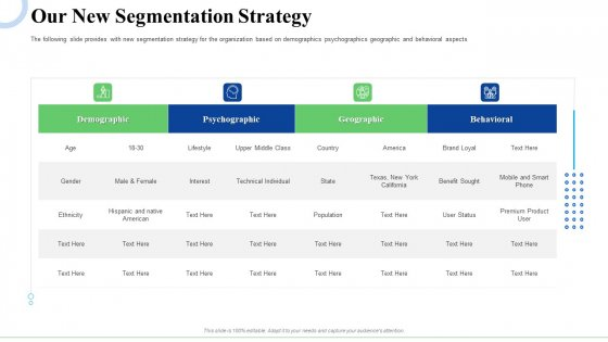 Strategic Plan For Business Expansion And Growth Our New Segmentation Strategy Mockup PDF