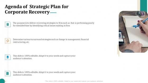 Strategic Plan For Corporate Recovery Agenda Of Strategic Plan For Corporate Recovery Ppt Slides Layouts PDF