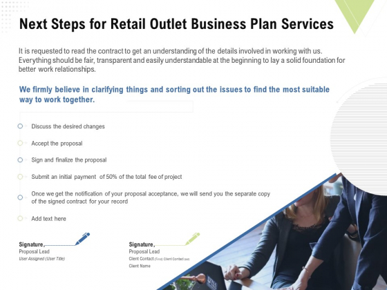 Strategic Plan Retail Store Next Steps For Retail Outlet Business Plan Services Ppt Model Layout Ideas PDF