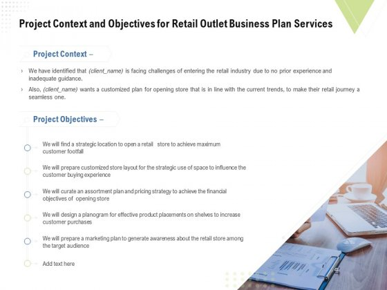 Strategic Plan Retail Store Project Context And Objectives For Outlet Business Plan Services Portrait PDF