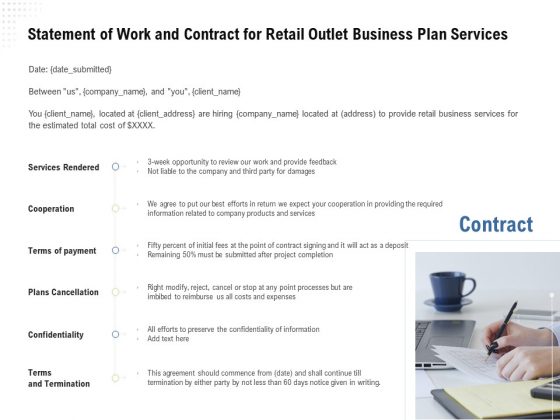 Strategic Plan Retail Store Statement Of Work And Contract For Outlet Business Plan Services Guidelines PDF