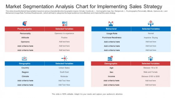 Strategic Plan To Increase Sales Volume And Revenue Market Segmentation Analysis Chart For Implementing Sales Strategy Microsoft PDF