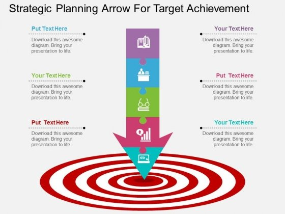 Strategic Planning Arrow For Target Achievement Powerpoint Template