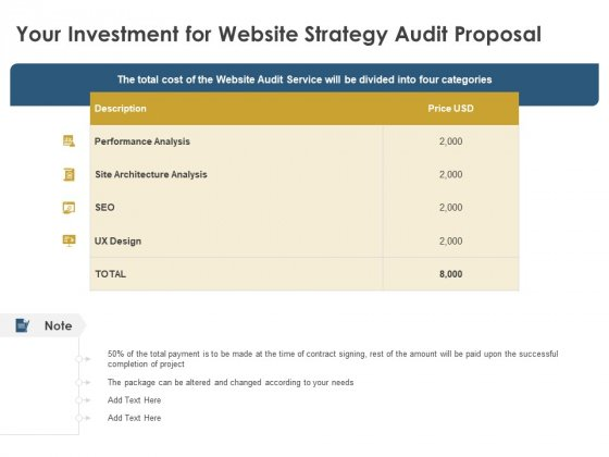 Strategic SEO Audit Your Investment For Website Strategy Audit Proposal Elements PDF
