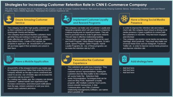 Strategies For Increasing Customer Retention Rate In CNN E Commerce Company Designs PDF