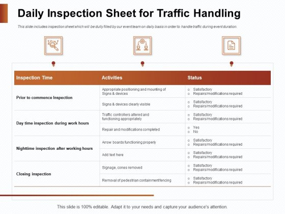 Strategies_For_Organizing_Events_Daily_Inspection_Sheet_For_Traffic_Handling_Ppt_PowerPoint_Presentation_Outline_Deck_PDF_Slide_1