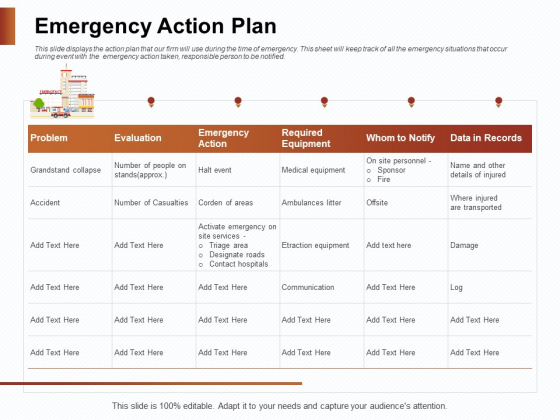 Strategies_For_Organizing_Events_Emergency_Action_Plan_Ppt_PowerPoint_Presentation_Ideas_Background_PDF_Slide_1