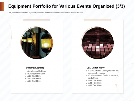 Strategies_For_Organizing_Events_Equipment_Portfolio_For_Various_Events_Organized_Building_Icons_PDF_Slide_1