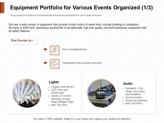 Strategies_For_Organizing_Events_Equipment_Portfolio_For_Various_Events_Organized_Ppt_Slides_Infographics_PDF_Slide_1