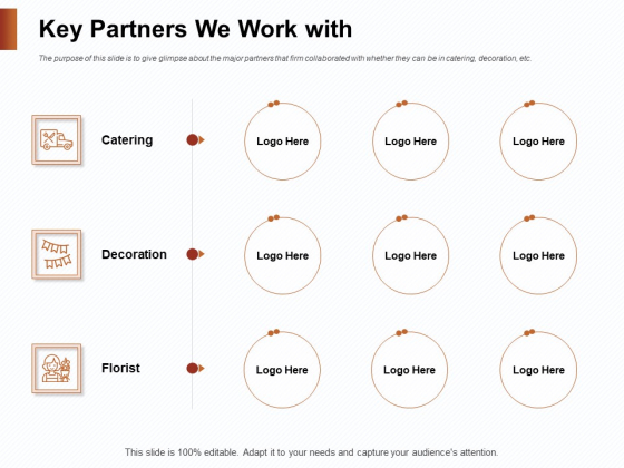 Strategies_For_Organizing_Events_Key_Partners_We_Work_With_Ppt_Infographics_Design_Templates_PDF_Slide_1