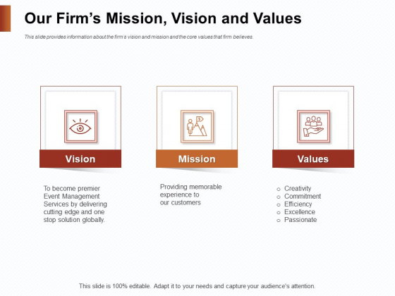 Strategies_For_Organizing_Events_Our_Firms_Mission_Vision_And_Values_Ppt_Styles_Example_PDF_Slide_1