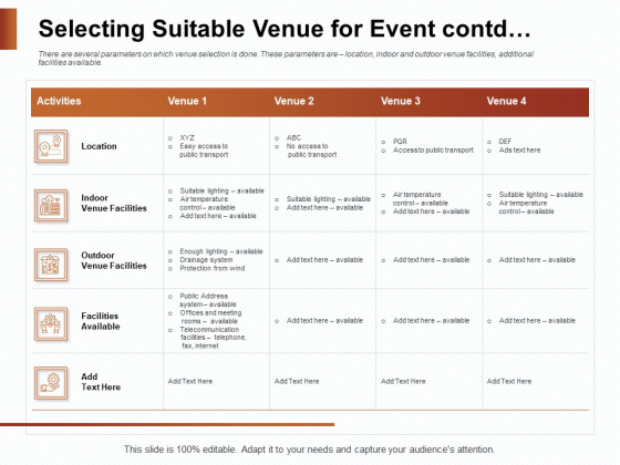 Strategies_For_Organizing_Events_Selecting_Suitable_Venue_For_Event_Contd_Ppt_Outline_Graphics_Example_PDF_Slide_1