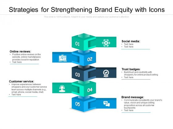Strategies For Strengthening Brand Equity With Icons Ppt PowerPoint Presentation Summary Example Topics PDF