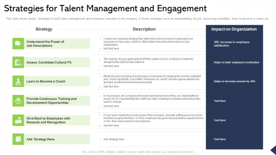 Strategies For Talent Management And Engagement Ppt Infographic Template Styles PDF
