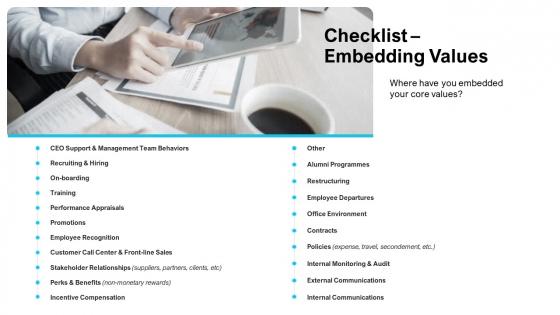 Strategies Improving Corporate Culture Checklist Embedding Values Portrait PDF