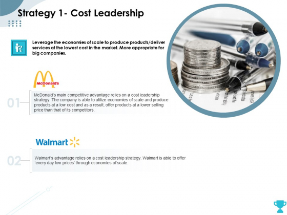 Strategies Take Your Retail Business Ahead Competition Strategy 1 Cost Leadership Slides PDF