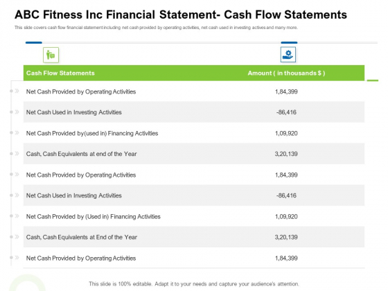 Strategies To Enter Physical Fitness Club Business ABC Fitness Inc Financial Statement Cash Flow Statements Demonstration PDF