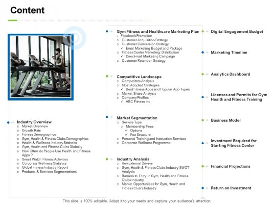 Strategies To Enter Physical Fitness Club Business Content Themes PDF
