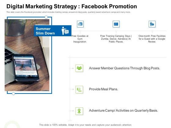 Strategies To Enter Physical Fitness Club Business Digital Marketing Strategy Facebook Promotion Graphics PDF