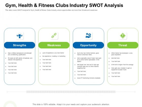 Strategies To Enter Physical Fitness Club Business Gym Health And Fitness Clubs Industry Swot Analysis Information PDF