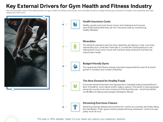 Strategies To Enter Physical Fitness Club Business Key External Drivers For Gym Health And Fitness Industry Demonstration PDF