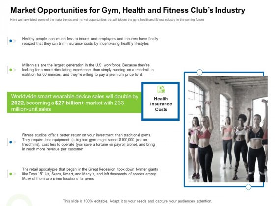 Strategies To Enter Physical Fitness Club Business Market Opportunities For Gym Health And Fitness Clubs Industry Infographics PDF