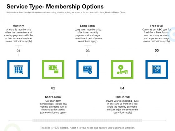Strategies_To_Enter_Physical_Fitness_Club_Business_Service_Type_Membership_Options_Themes_PDF_Slide_1