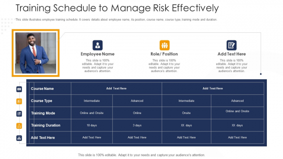 Strategies To Tackle Operational Risk In Banking Institutions Training Schedule To Manage Risk Effectively Designs PDF