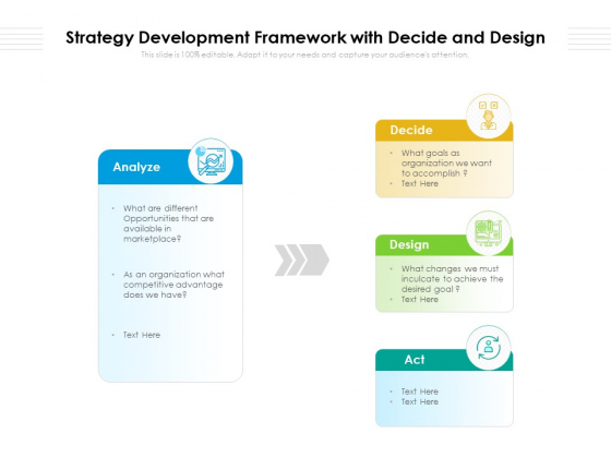 Strategy Development Framework With Decide And Design Ppt PowerPoint Presentation File Microsoft PDF