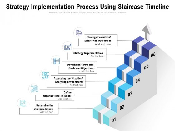 Strategy Implementation Process Using Staircase Timeline Ppt PowerPoint Presentation File Graphics Example PDF
