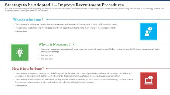 Strategy To Be Adopted 1 Improve Recruitment Procedures Inspiration PDF