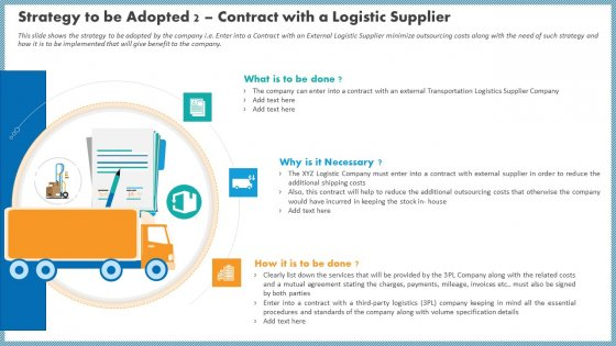 Strategy To Be Adopted 2 Contract With A Logistic Supplier Summary PDF