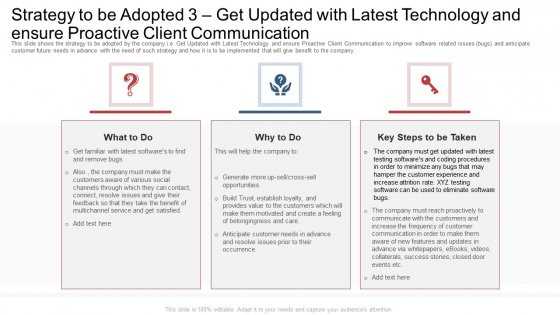 Strategy To Be Adopted 3 Get Updated With Latest Technology And Ensure Proactive Client Communication Ppt Icon Layout PDF
